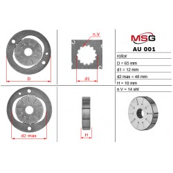 Power steering pump rotors AU 001 ROTOR