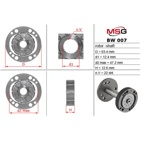 Power steering pump rotors BW 007 ROTOR-SHAFT
