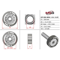 Power steering pump rotors OP 006 ROTOR-SHAFT