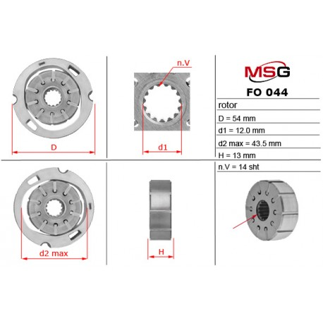 Power steering pump rotors FO 044 ROTOR