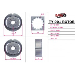 Power steering pump rotors TY 001 ROTOR