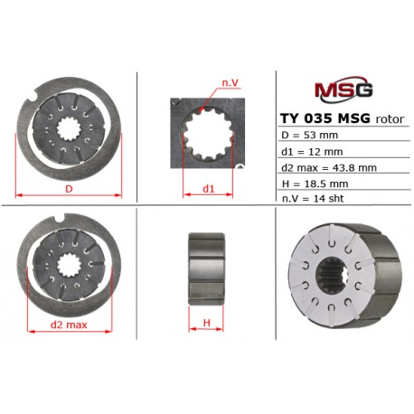 Power steering pump rotors TY 035 ROTOR