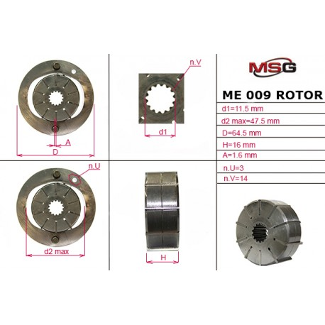 Power steering pump rotors ME 009 ROTOR