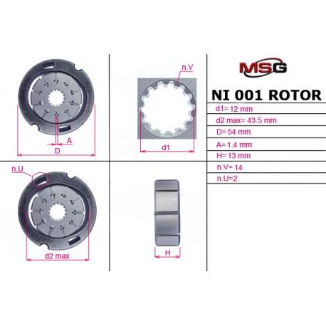 Power steering pump rotors NI 001 ROTOR