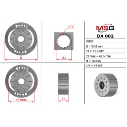 Power steering pump rotors DA 002 ROTOR